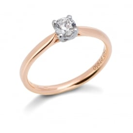 18ct Rose Gold Premier Cut Diamond Solitaire 0.36ct