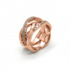 Rose Gold Plated Silver and Cubic Zirconia Plaited Ring