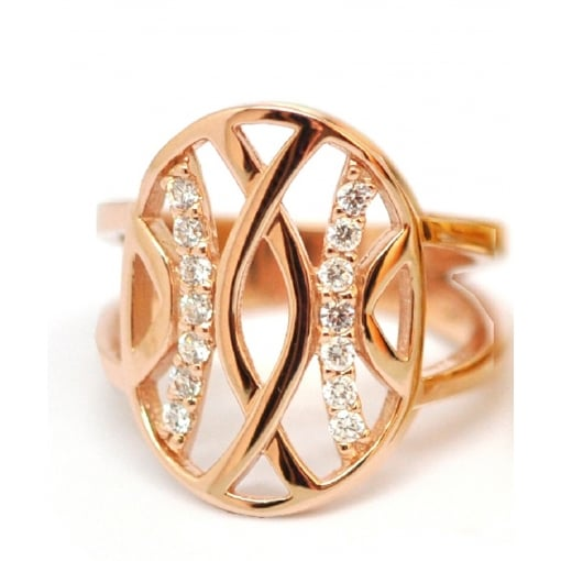 Babbette Wasserman Rose Gold Plated Silver and Cubic Zirconia Ring - Espalier