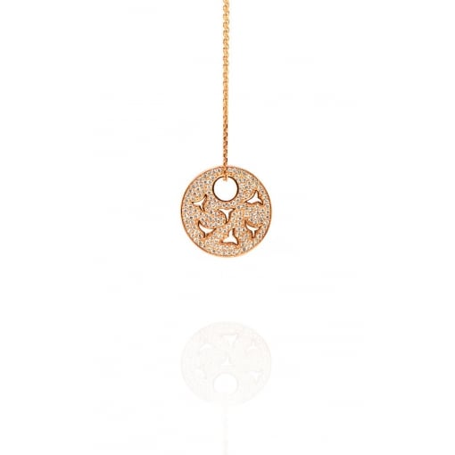 Babbette Wasserman Rose Gold Plated Silver and Cubic Zirconia Universal Heart Pendant