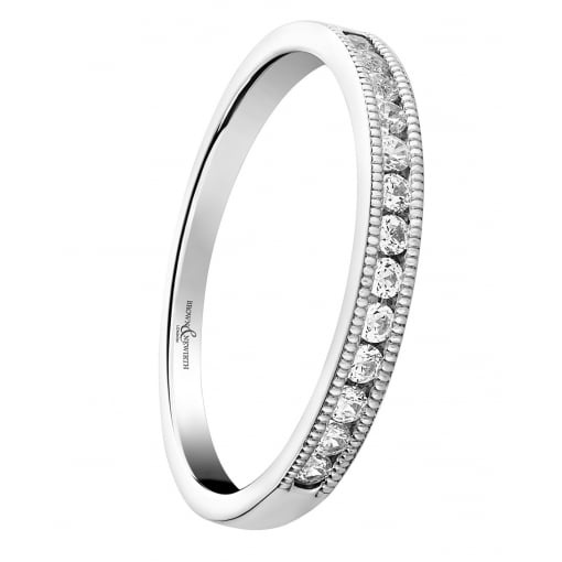 Brown & Newirth 18ct White Gold Diamond Band with a Beaded Edge 0.20ct