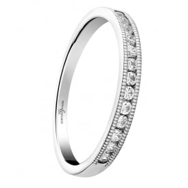 18ct White Gold Diamond Band with a Beaded Edge 0.20ct
