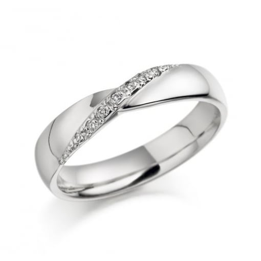 Brown & Newirth 18ct White Gold Rind with Diamond Crossover
