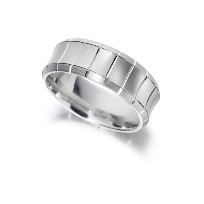 Brown & Newirth 9ct White Gold Concave Band
