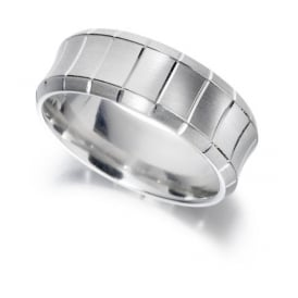 9ct White Gold Concave Band