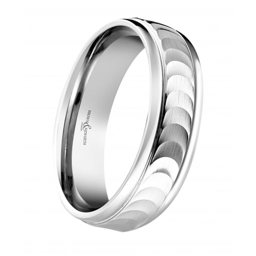 Brown & Newirth 9ct White Gold Wedding Ring with Crescent Engraving