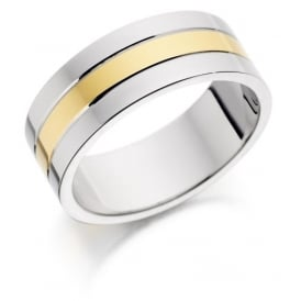 9ct Yellow and White Gold Band
