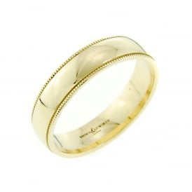 9ct Yellow Gold 5mm Court Shaped Wedding Ring with Beaded Edge