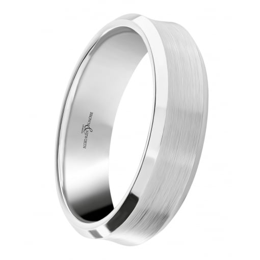Brown & Newirth Palladium 500, 7mm Concave Matt and Polished Band