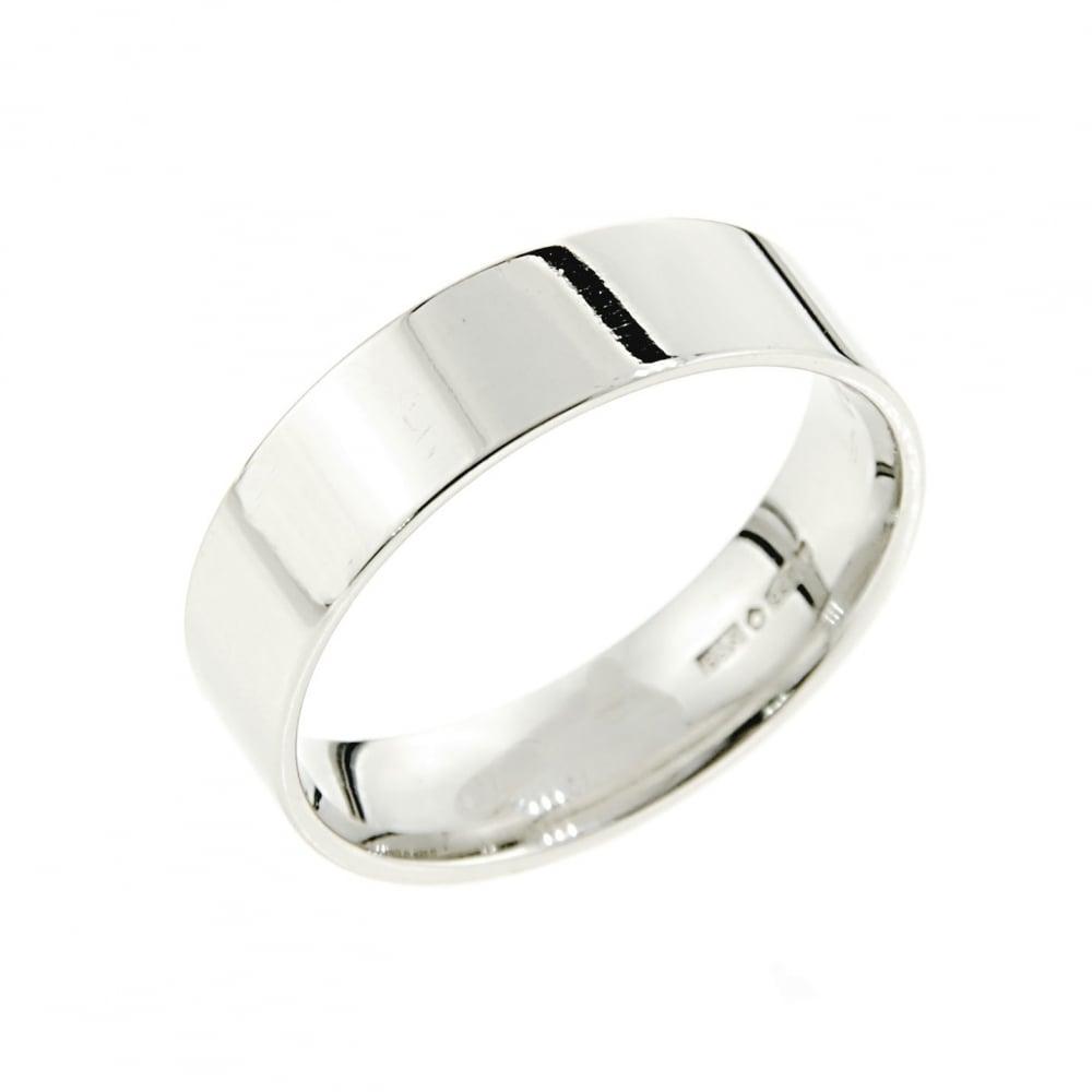 Brown Newirth Platinum 6mm Flat Court Wedding Ring Mens From