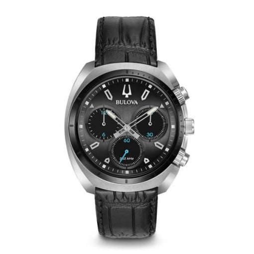 Bulova Curv Chronograph with Black Leather Strap