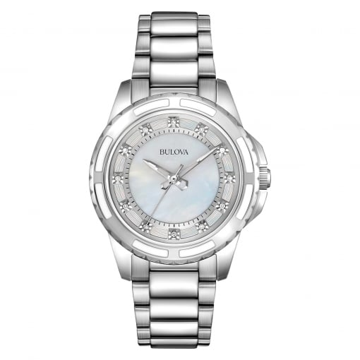 Bulova Stainless Steel and Ceramic Watch with Diamond Set Dial