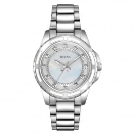 Stainless Steel and Ceramic Watch with Diamond Set Dial