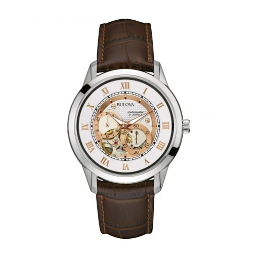 Bulova Stainless Steel Automatic Watch with a Brown Strap