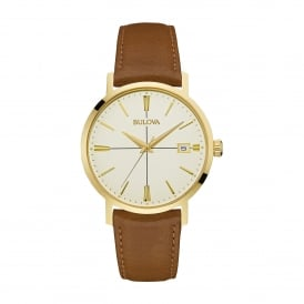 Stainless Steel Gold Tone Finish Watch with Brown Strap