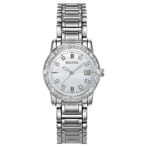 Bulova Stainless Steel Watch with Diamond Set Bezel and Dial