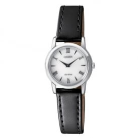 Citizen Eco-Drive Stiletto Watch with Black Leather Strap.