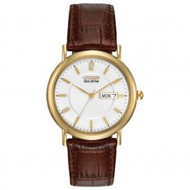 Classic Gold Plated Watch with Brown Strap