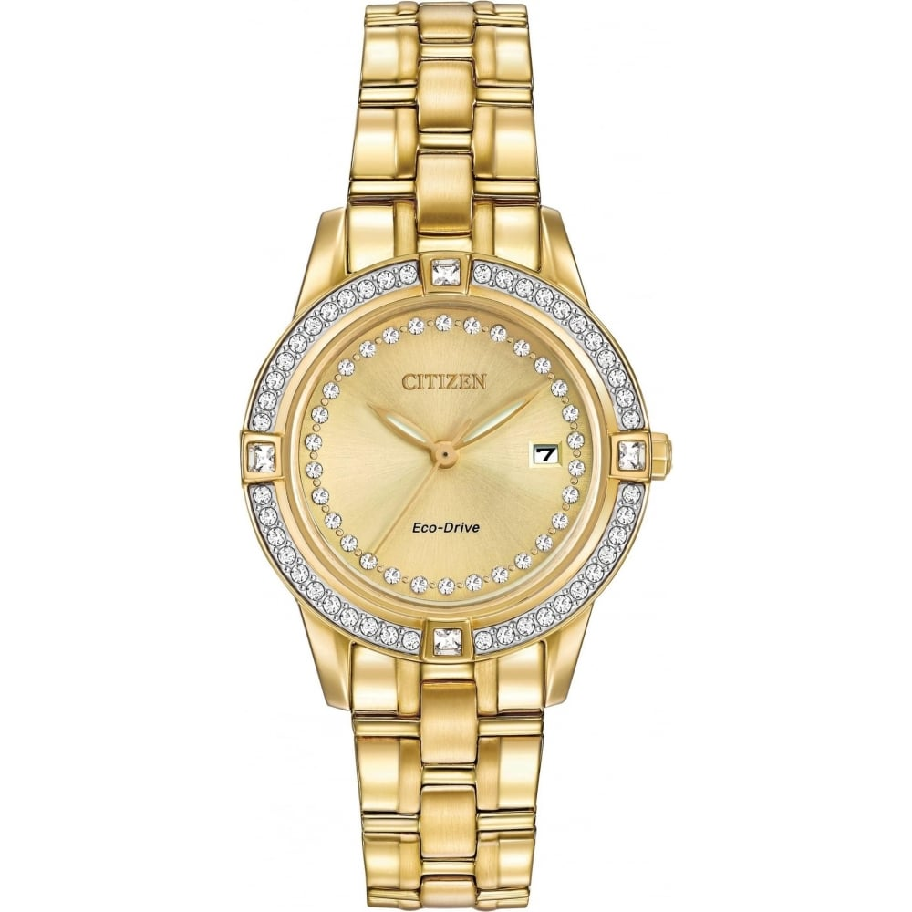 Citizen EcoDrive Gold Plated Watch with Swarovski Crystals - Watches ... 4b47743a4244