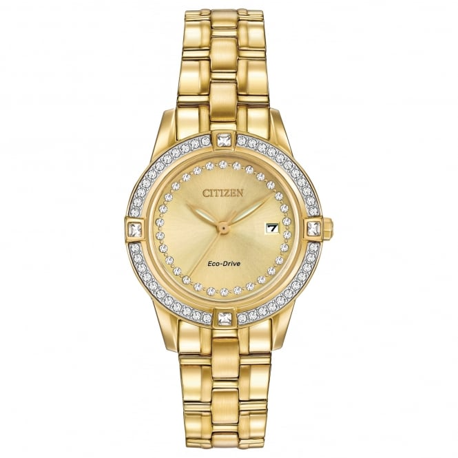 Citizen EcoDrive Gold Plated Watch with Swarovski Crystals