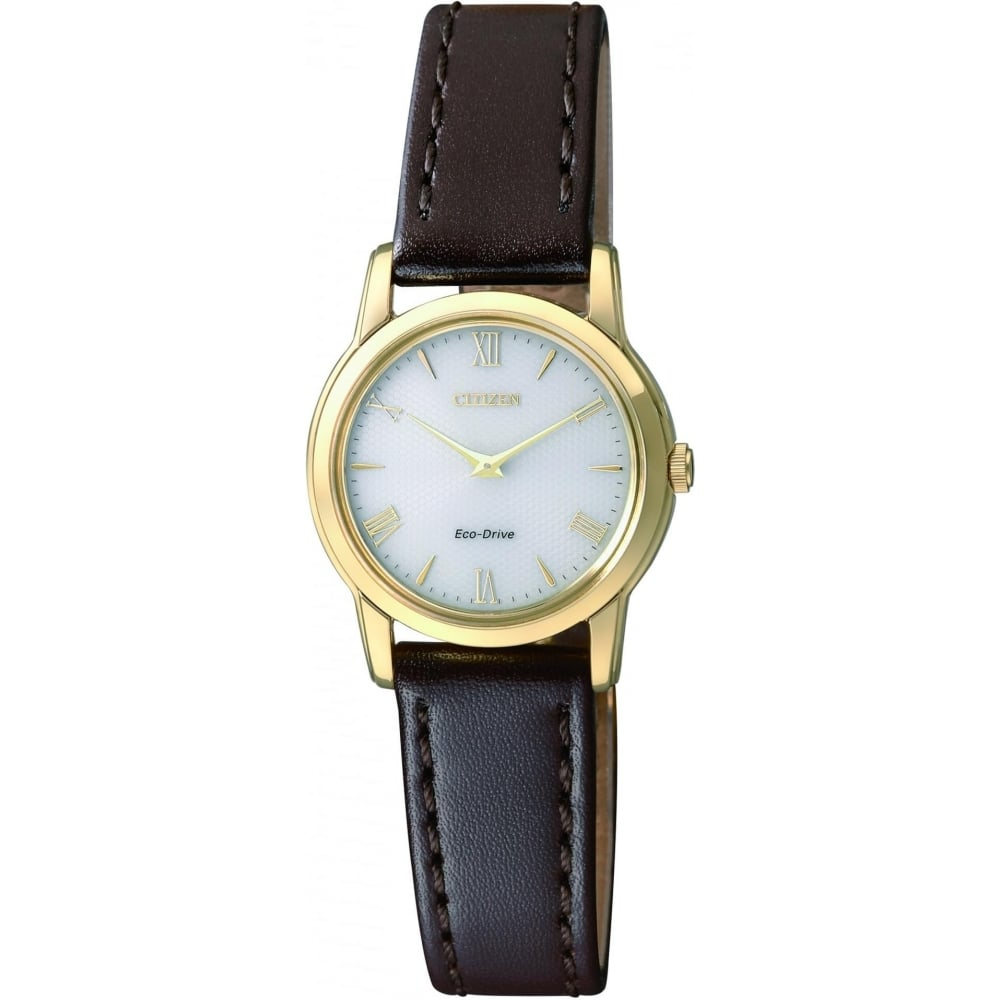 Citizen EcoDrive Ladies Gold Plated Watch with Brown Leather Strap ... faf952fce