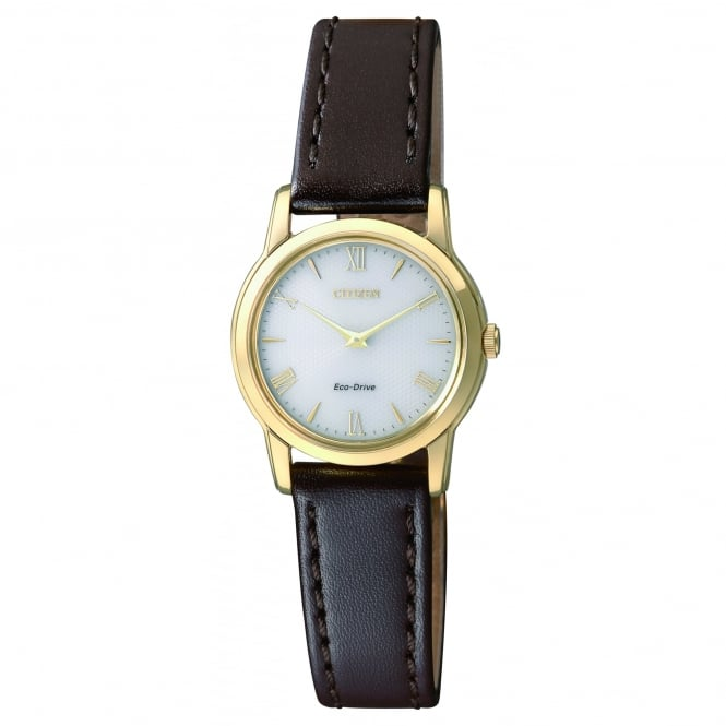 Citizen EcoDrive Ladies Gold Plated Watch with Brown Leather Strap