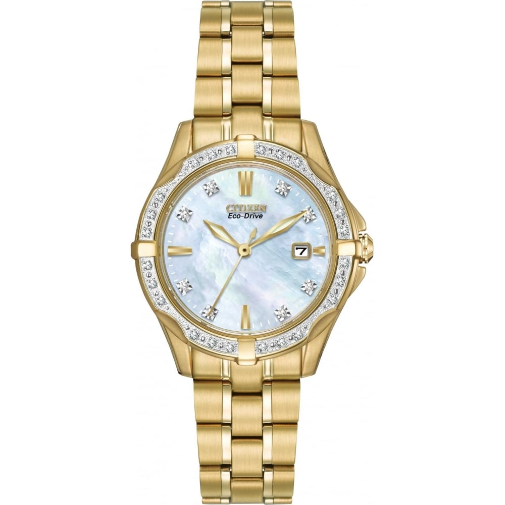 Citizen EcoDrive Ladies Gold Plated Watch with Diamonds - Watches ... 0ecc80e8c
