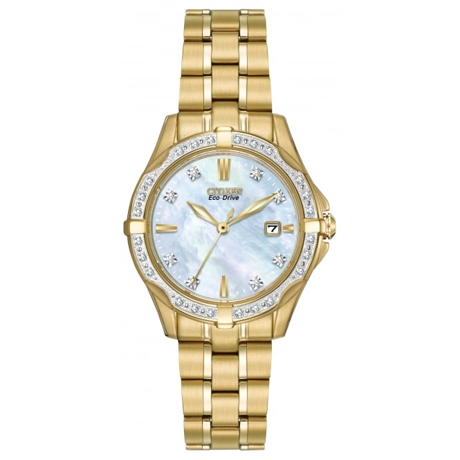 Citizen EcoDrive Ladies Gold Plated Watch with Diamonds