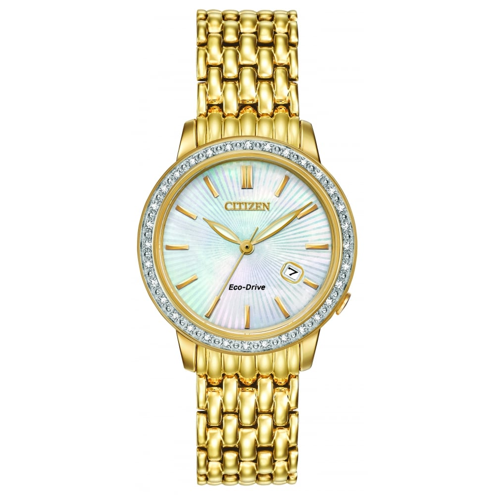 f317c36633a Citizen EcoDrive Ladies Gold Plated Watch with Mother of Pearl ...