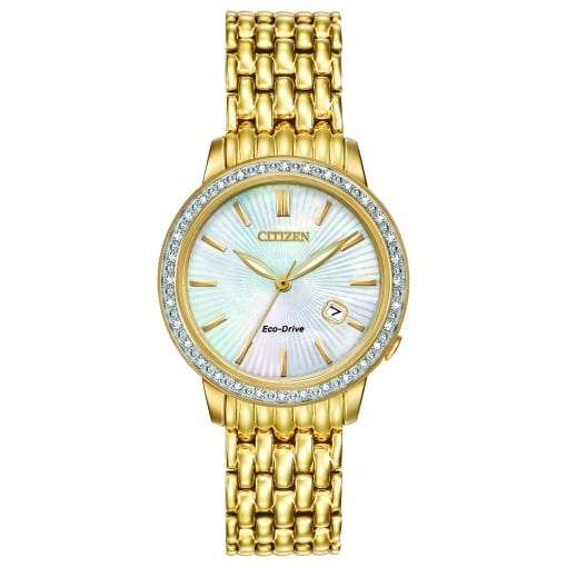Citizen EcoDrive Ladies Gold Plated Watch with Mother of Pearl