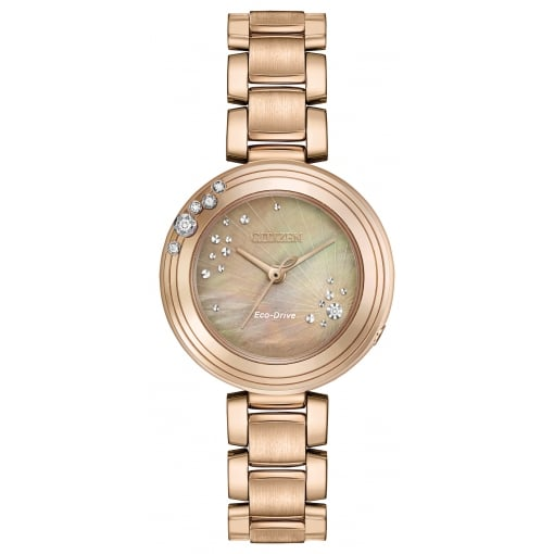 Citizen EcoDrive Ladies Rose Gold Plated Watch with Diamonds