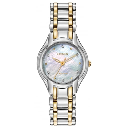 Citizen EcoDrive Ladies Silhouette Watch with Mother of Pearl and Diamonds