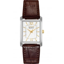 Ladies Watch with Dark Brown Leather Strap