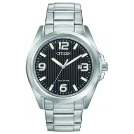 Men's Bracelet Watch with Black Dial