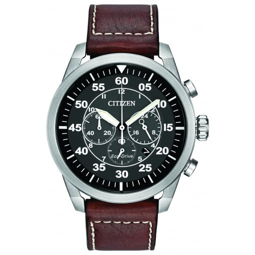 Citizen EcoDrive Men's Chronograph Watch with Brown Strap