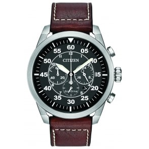 Men's Chronograph Watch with Brown Strap