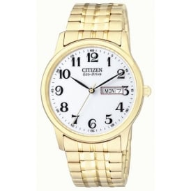 Men's Gold Plated Expanding Bracelet Watch