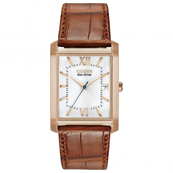 Citizen EcoDrive Men's Rose Gold Plated Watch with Brown Strap