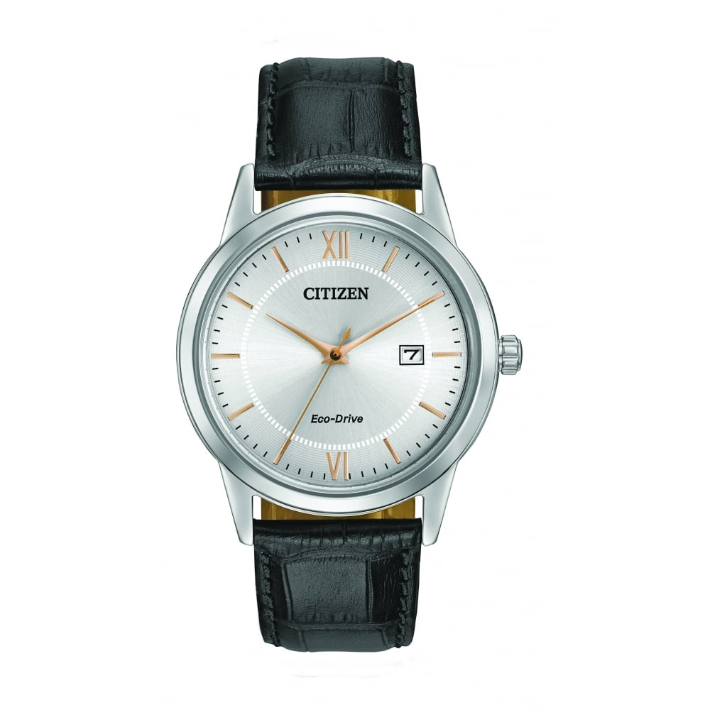 Men S Watch With A Silver Dial And Black Strap