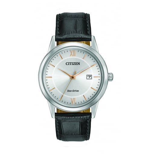 Citizen EcoDrive Men's Watch with a Silver Dial and Black Strap