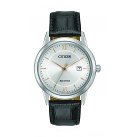 Men's Watch with a Silver Dial and Black Strap