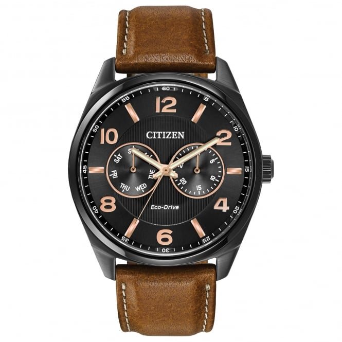 Citizen EcoDrive Men's Watch with Black Dial and Rose Gold Plating
