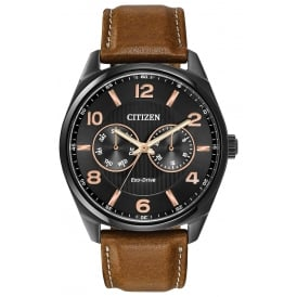 Men's Watch with Black Dial and Rose Gold Plating