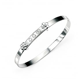 Childs Silver Expanding Bangle set with Diamonds