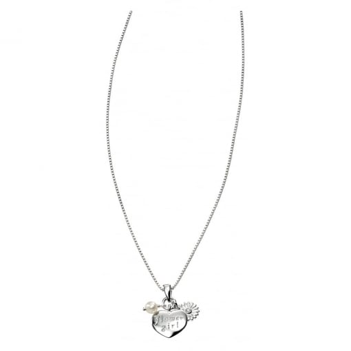 D for Diamond Flower Girl Pendant and Chain