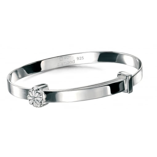 D for Diamond Silver Baby Bangle with Flower Detail