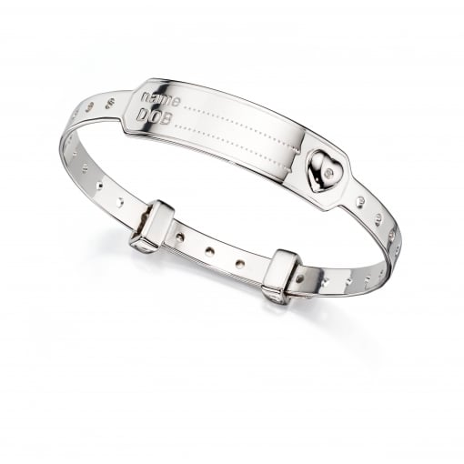 D for Diamond Silver Childs ID Bangle, set with a Diamond.