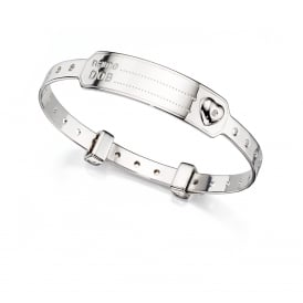 Silver Childs ID Bangle, set with a Diamond.