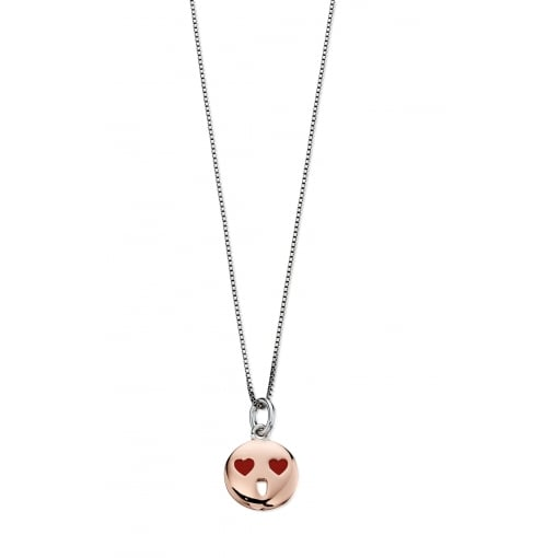 D for Diamond Silver Emoji Pendant and Chain.