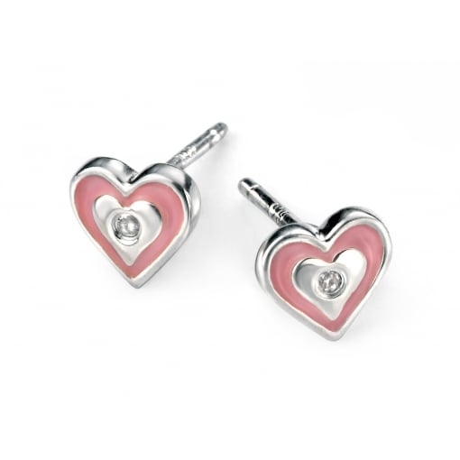 D for Diamond Silver Pink Heart Diamond Stud Earrings.